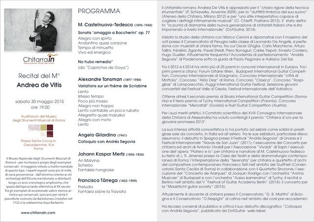 Andrea de Vitis programma di sala
