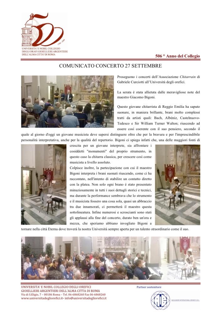 Comunicato Stampa Concerto Giacomo Bengoni